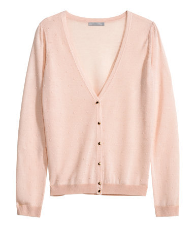 Fine Knit Cardigan - neckline: low v-neck; pattern: polka dot; predominant colour: blush; occasions: casual, creative work; length: standard; style: standard; fit: slim fit; sleeve length: long sleeve; sleeve style: standard; texture group: knits/crochet; pattern type: knitted - fine stitch; fibres: viscose/rayon - mix; trends: sorbet shades; season: s/s 2014