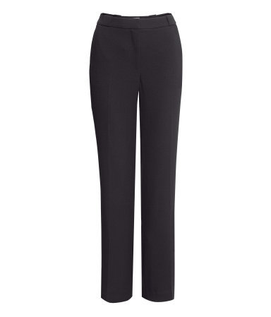 Wide Suit Trousers - length: standard; pattern: plain; waist: mid/regular rise; predominant colour: black; occasions: evening, work, creative work; fibres: polyester/polyamide - stretch; fit: wide leg; pattern type: fabric; texture group: woven light midweight; style: standard; season: s/s 2014