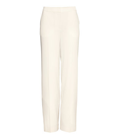 Wide Suit Trousers - length: standard; pattern: plain; waist: mid/regular rise; predominant colour: ivory/cream; occasions: evening, work, occasion, creative work; fibres: polyester/polyamide - stretch; texture group: crepes; fit: wide leg; pattern type: fabric; style: standard; season: s/s 2014