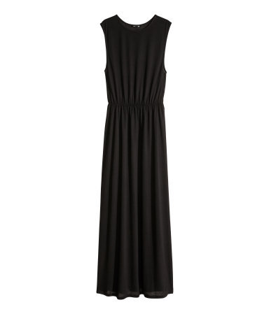 Maxi Dress - fit: fitted at waist; pattern: plain; sleeve style: sleeveless; style: maxi dress; waist detail: elasticated waist; predominant colour: black; occasions: casual, holiday; length: floor length; fibres: polyester/polyamide - 100%; neckline: crew; hip detail: subtle/flattering hip detail; sleeve length: sleeveless; pattern type: fabric; texture group: jersey - stretchy/drapey; season: s/s 2014