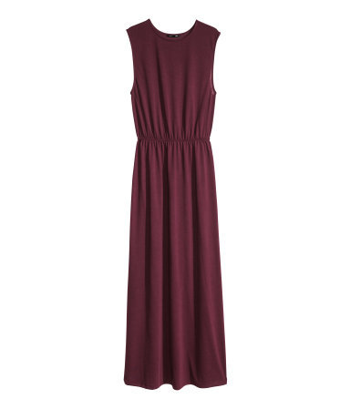Maxi Dress - fit: fitted at waist; pattern: plain; sleeve style: sleeveless; style: maxi dress; waist detail: elasticated waist; predominant colour: burgundy; occasions: casual, evening, occasion, holiday; length: floor length; fibres: polyester/polyamide - 100%; neckline: crew; hip detail: soft pleats at hip/draping at hip/flared at hip; sleeve length: sleeveless; pattern type: fabric; texture group: jersey - stretchy/drapey; season: s/s 2014