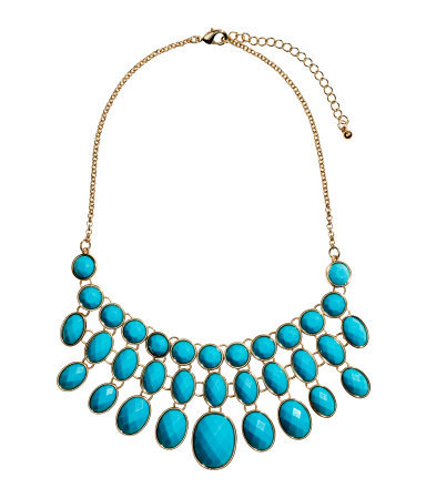 Short Necklace - predominant colour: turquoise; secondary colour: gold; occasions: evening, work, occasion, holiday, creative work; length: mid; size: large/oversized; material: chain/metal; finish: metallic; embellishment: jewels/stone; style: bib/statement; season: s/s 2014