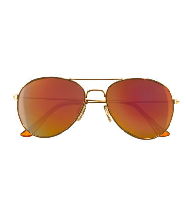 Sunglasses - predominant colour: tan; secondary colour: silver; occasions: casual, holiday; style: aviator; size: standard; material: chain/metal; pattern: plain; finish: metallic; season: s/s 2014