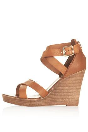 Wizard Multi Strap Wedges - predominant colour: camel; occasions: casual, holiday, creative work; material: leather; heel height: high; ankle detail: ankle strap; heel: wedge; toe: open toe/peeptoe; style: strappy; finish: plain; pattern: plain; shoe detail: platform; season: s/s 2014
