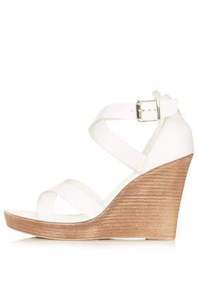 Wizard Multi Strap Wedges - predominant colour: white; occasions: casual, holiday, creative work; material: leather; heel height: high; ankle detail: ankle strap; heel: wedge; toe: open toe/peeptoe; style: strappy; finish: plain; pattern: plain; shoe detail: platform; season: s/s 2014