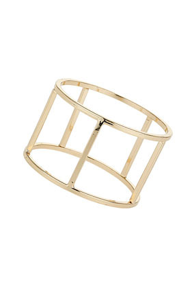 Gold Cut Out Bangle - predominant colour: gold; occasions: casual, evening, work, occasion, holiday, creative work; style: cuff; size: large/oversized; material: chain/metal; finish: metallic; season: s/s 2014