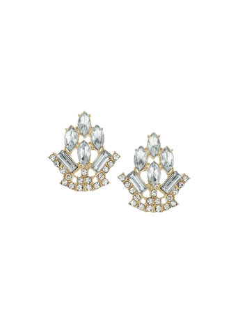 Multistone Studs - secondary colour: silver; predominant colour: gold; occasions: evening, occasion; style: stud; length: short; size: standard; material: chain/metal; fastening: pierced; finish: metallic; embellishment: crystals/glass; season: s/s 2014