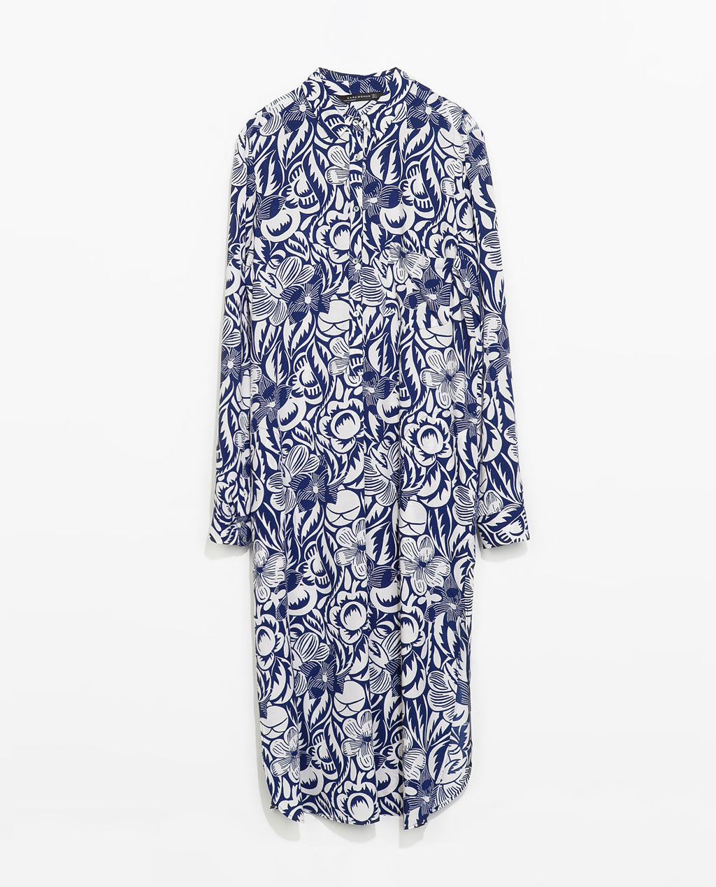 Long Asymmetric Printed Tunic - style: tunic; length: below the knee; neckline: shirt collar/peter pan/zip with opening; fit: loose; secondary colour: white; predominant colour: navy; occasions: casual, holiday, creative work; fibres: viscose/rayon - 100%; sleeve length: long sleeve; sleeve style: standard; pattern type: fabric; pattern size: standard; pattern: florals; texture group: jersey - stretchy/drapey; trends: furious florals; season: s/s 2014