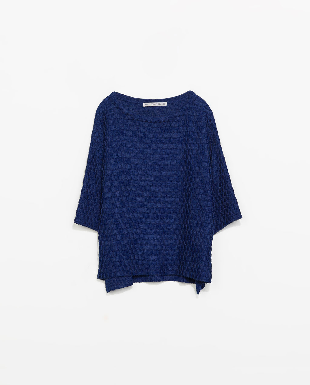 Detailed Knit Sweater - neckline: slash/boat neckline; pattern: plain; style: standard; predominant colour: navy; occasions: casual, work, creative work; length: standard; fibres: acrylic - 100%; fit: loose; sleeve length: 3/4 length; sleeve style: standard; texture group: knits/crochet; pattern type: knitted - other; season: s/s 2014
