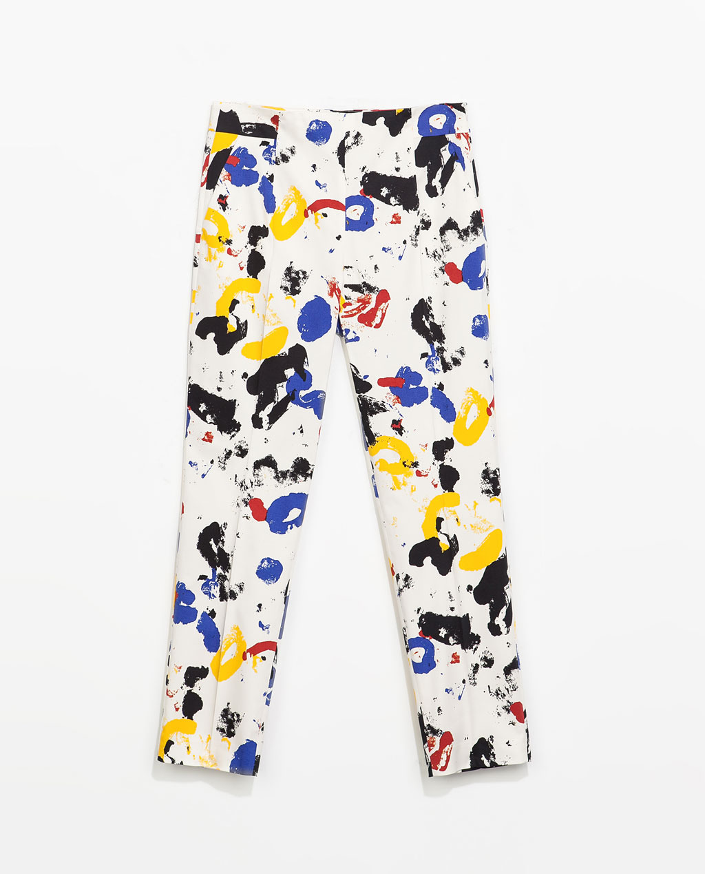 Printed Trousers With Side Zip - style: capri; waist: mid/regular rise; occasions: casual, evening, creative work; length: calf length; fibres: cotton - stretch; predominant colour: multicoloured; texture group: cotton feel fabrics; fit: slim leg; pattern type: fabric; pattern: patterned/print; trends: art-party prints; season: s/s 2014; pattern size: standard (bottom); multicoloured: multicoloured