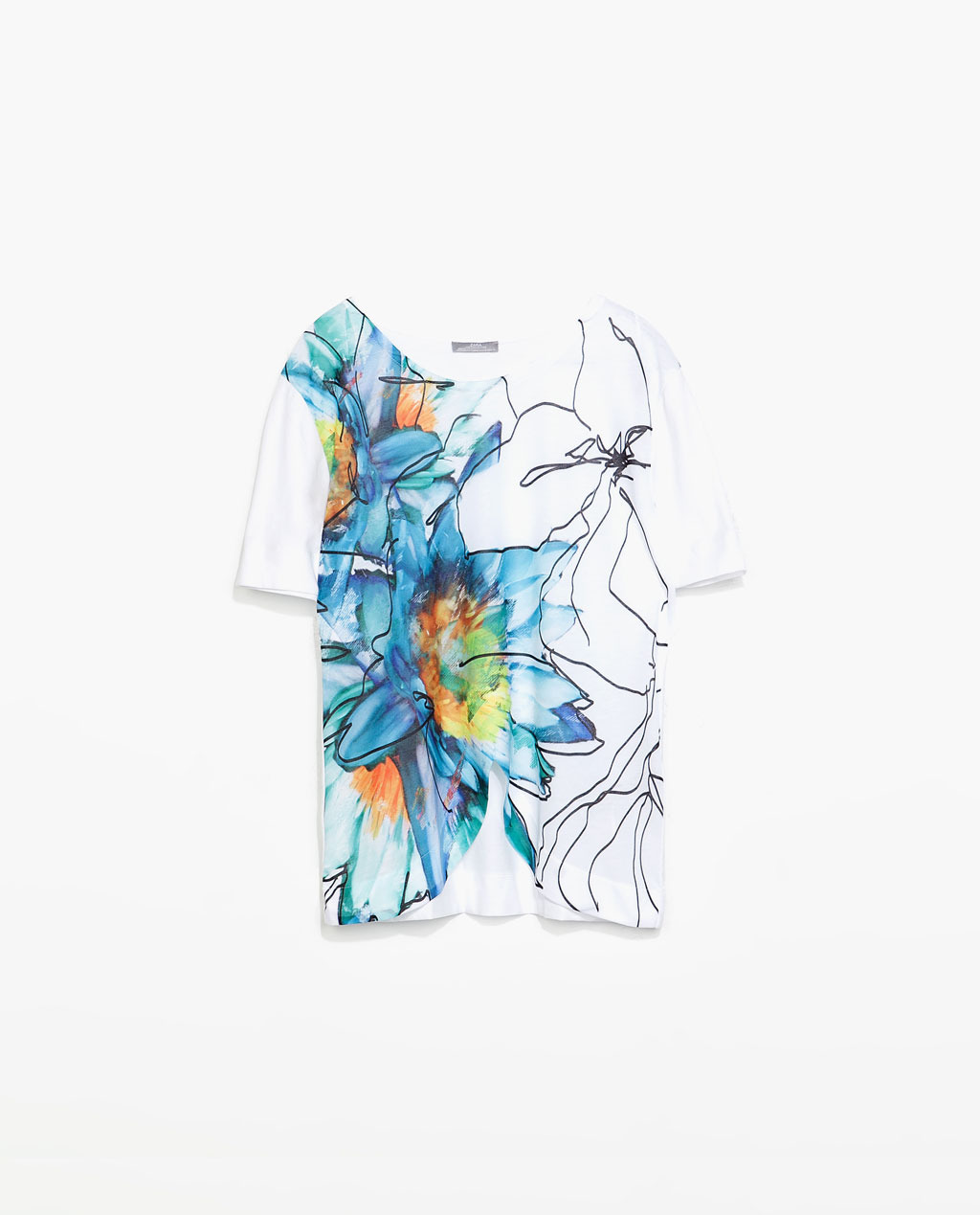 Floral Print T Shirt - neckline: round neck; style: t-shirt; occasions: casual, holiday; length: standard; fibres: polyester/polyamide - 100%; fit: body skimming; predominant colour: multicoloured; sleeve length: short sleeve; sleeve style: standard; pattern type: fabric; pattern: florals; texture group: jersey - stretchy/drapey; trends: furious florals; season: s/s 2014; pattern size: big & busy (top); multicoloured: multicoloured