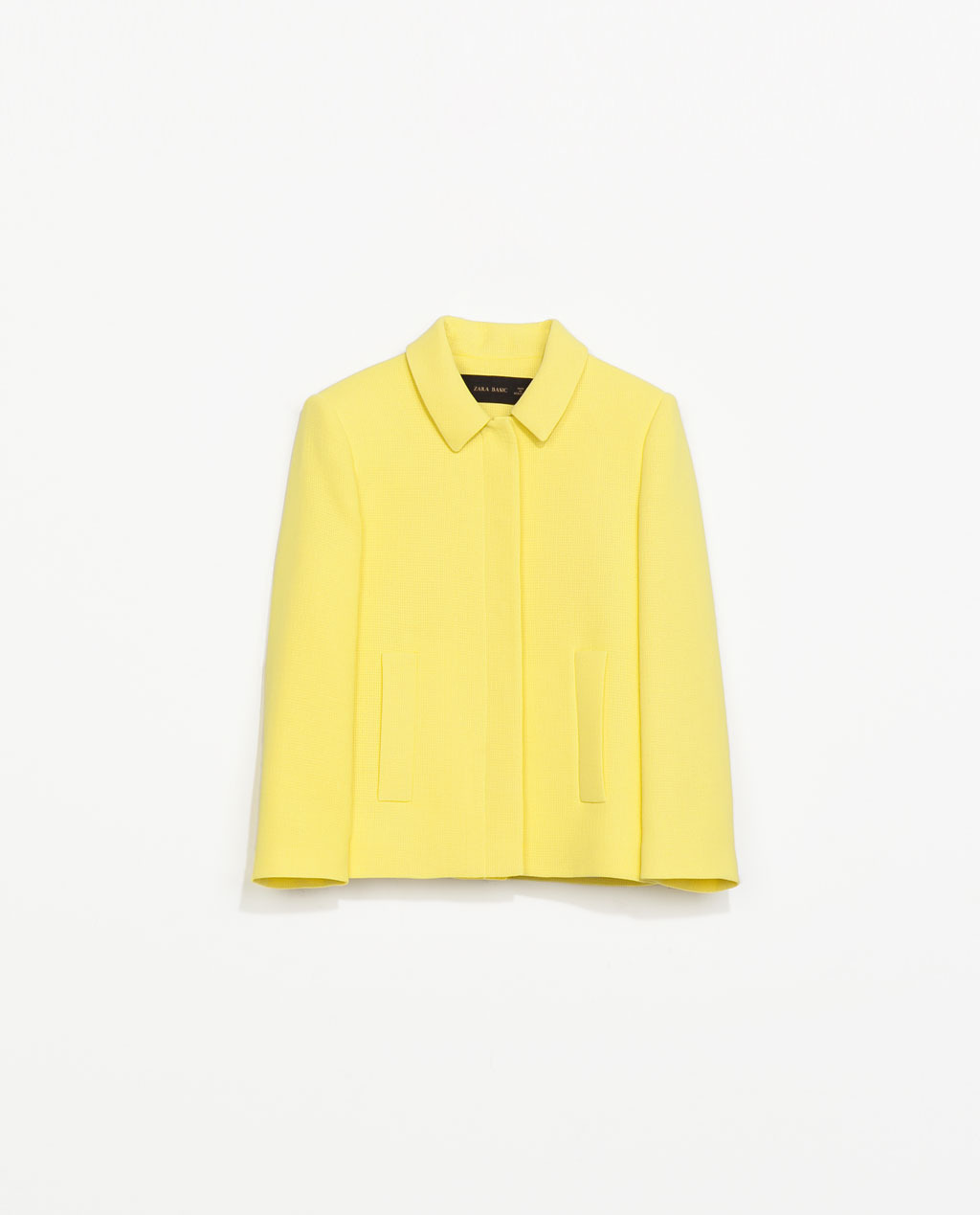 Structured Jacket - pattern: plain; style: boxy; predominant colour: yellow; occasions: casual, occasion, creative work; length: standard; fit: straight cut (boxy); collar: shirt collar/peter pan/zip with opening; sleeve length: 3/4 length; sleeve style: standard; collar break: high/illusion of break when open; pattern type: fabric; texture group: woven light midweight; trends: hot brights; season: s/s 2014
