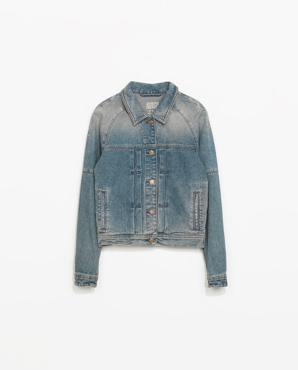 Denim Jacket - pattern: plain; style: denim; fit: slim fit; predominant colour: denim; occasions: casual, creative work; length: standard; fibres: cotton - 100%; collar: shirt collar/peter pan/zip with opening; sleeve length: long sleeve; sleeve style: standard; texture group: denim; collar break: high/illusion of break when open; pattern type: fabric; season: s/s 2014
