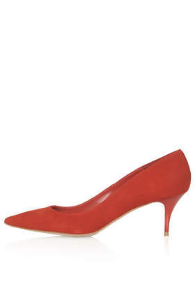 Jester Kitten Heels - predominant colour: true red; occasions: evening, work, occasion, creative work; material: suede; heel height: mid; heel: stiletto; toe: pointed toe; style: courts; finish: plain; pattern: plain; season: s/s 2014