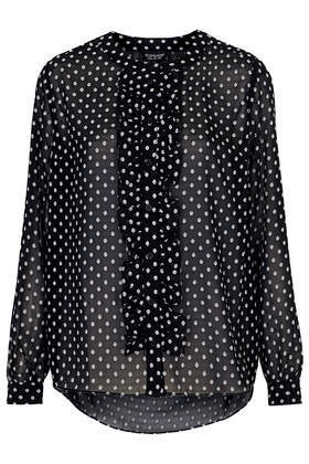 Dobby Frill Placket Blouse - neckline: round neck; style: blouse; pattern: polka dot; secondary colour: white; predominant colour: black; occasions: casual, evening, work, creative work; length: standard; fibres: viscose/rayon - 100%; fit: loose; back detail: longer hem at back than at front; sleeve length: long sleeve; sleeve style: standard; texture group: sheer fabrics/chiffon/organza etc.; bust detail: bulky details at bust; pattern type: fabric; pattern size: standard; season: s/s 2014; wardrobe: highlight