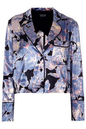 Vintage Floral Crop Jacket - style: single breasted blazer; collar: standard lapel/rever collar; occasions: casual, evening, creative work; fit: straight cut (boxy); fibres: viscose/rayon - 100%; predominant colour: multicoloured; sleeve length: 3/4 length; sleeve style: standard; texture group: structured shiny - satin/tafetta/silk etc.; collar break: medium; pattern type: fabric; pattern size: standard; pattern: florals; trends: furious florals; season: s/s 2014; multicoloured: multicoloured; length: cropped