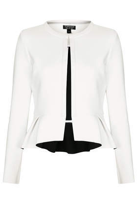 Bonded Peplum Jacket - pattern: plain; style: single breasted blazer; collar: round collar/collarless; predominant colour: white; occasions: casual, evening, work, occasion, creative work; length: standard; fit: tailored/fitted; fibres: polyester/polyamide - stretch; waist detail: peplum detail at waist; sleeve length: long sleeve; sleeve style: standard; collar break: high; pattern type: fabric; texture group: woven light midweight; season: s/s 2014; wardrobe: basic