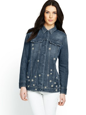 Boyfriend Star Print Denim Jacket - style: denim; fit: slim fit; predominant colour: denim; occasions: casual, creative work; length: standard; fibres: cotton - stretch; collar: shirt collar/peter pan/zip with opening; sleeve length: long sleeve; sleeve style: standard; texture group: denim; collar break: high/illusion of break when open; pattern type: fabric; pattern: patterned/print; season: s/s 2014