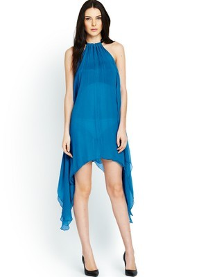 Chiffon Halter Neck Dress, Blue - style: shift; length: mid thigh; fit: loose; pattern: plain; sleeve style: sleeveless; neckline: low halter neck; bust detail: ruching/gathering/draping/layers/pintuck pleats at bust; predominant colour: diva blue; occasions: evening; fibres: viscose/rayon - 100%; sleeve length: sleeveless; texture group: sheer fabrics/chiffon/organza etc.; pattern type: fabric; season: s/s 2014