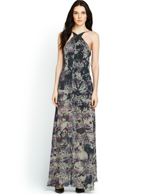Printed Maxi Dress - sleeve style: sleeveless; style: maxi dress; neckline: low halter neck; back detail: low cut/open back; predominant colour: black; occasions: casual, evening, occasion; length: floor length; fit: body skimming; fibres: viscose/rayon - 100%; sleeve length: sleeveless; texture group: sheer fabrics/chiffon/organza etc.; pattern type: fabric; pattern size: big & busy; pattern: patterned/print; season: s/s 2014