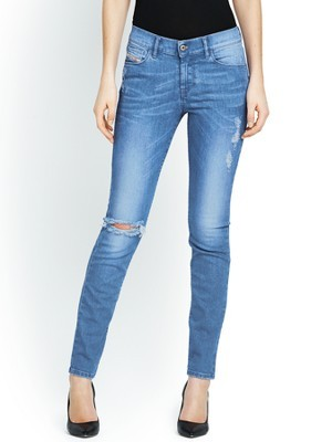 Hi Vy Skinny Jeans, Blue - style: skinny leg; length: standard; pattern: plain; pocket detail: traditional 5 pocket; waist: mid/regular rise; predominant colour: denim; occasions: casual, creative work; fibres: cotton - stretch; jeans detail: whiskering, shading down centre of thigh, washed/faded; texture group: denim; pattern type: fabric; season: s/s 2014
