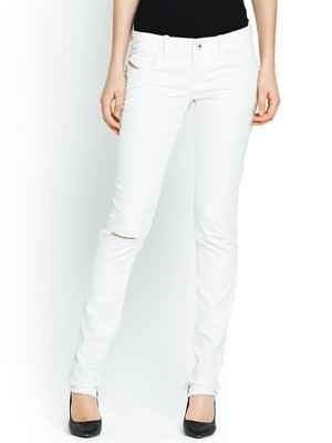 Grupee Super Skinny Jeans, White - style: skinny leg; length: standard; pattern: plain; pocket detail: traditional 5 pocket; waist: mid/regular rise; predominant colour: white; occasions: casual, creative work; fibres: cotton - stretch; texture group: denim; pattern type: fabric; season: s/s 2014
