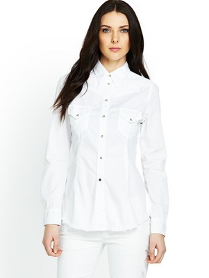 Denim Shirt, White - neckline: shirt collar/peter pan/zip with opening; pattern: plain; style: shirt; bust detail: pocket detail at bust; predominant colour: white; occasions: casual, creative work; length: standard; fibres: cotton - 100%; fit: tailored/fitted; back detail: keyhole/peephole detail at back; sleeve length: long sleeve; sleeve style: standard; texture group: denim; pattern type: fabric; season: s/s 2014