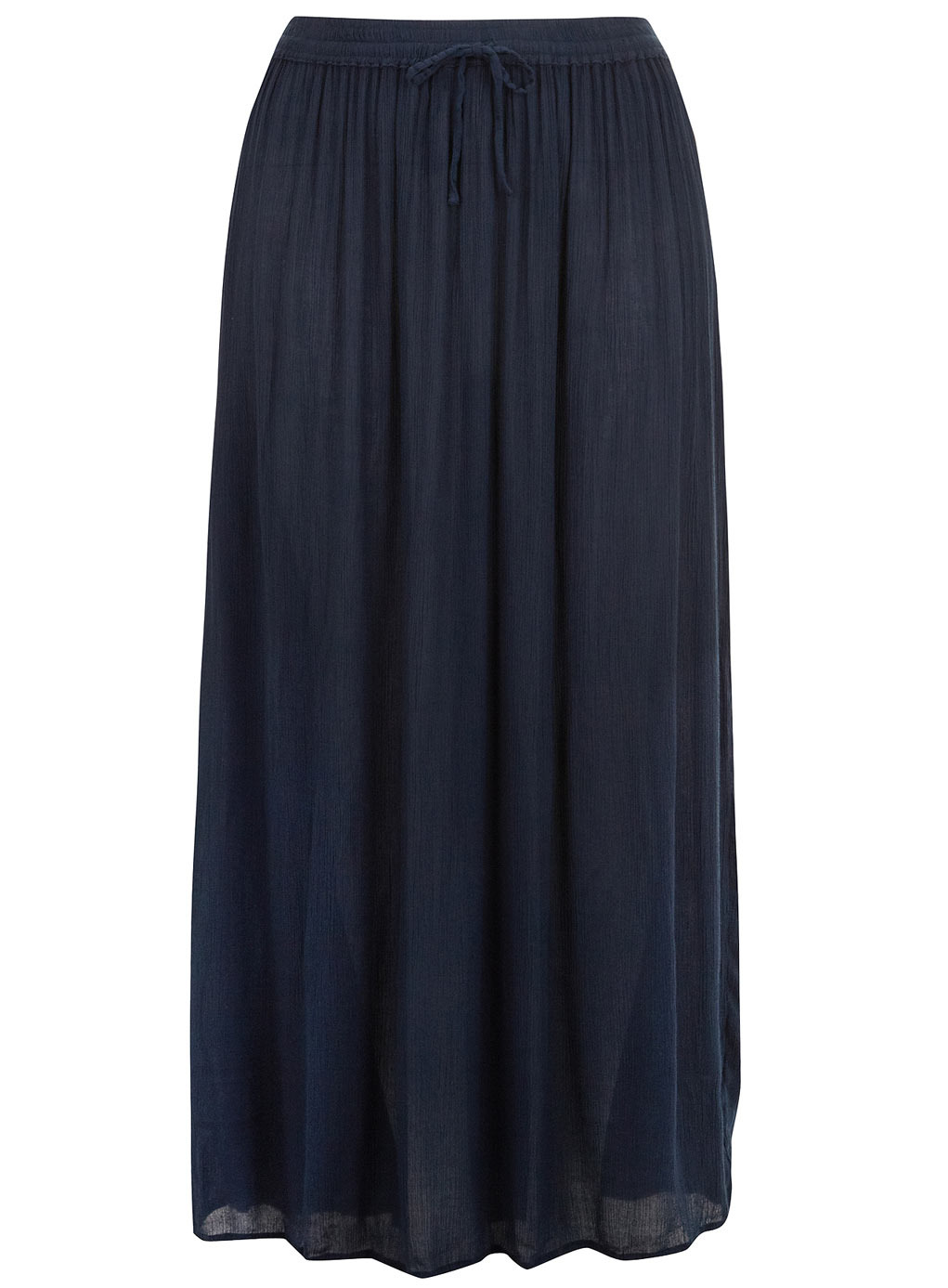 Navy Crinkle Skirt - pattern: plain; length: ankle length; fit: loose/voluminous; waist: high rise; waist detail: belted waist/tie at waist/drawstring; predominant colour: navy; occasions: casual; style: maxi skirt; fibres: viscose/rayon - 100%; hip detail: ruching/gathering at hip; texture group: cotton feel fabrics; pattern type: fabric; season: s/s 2014