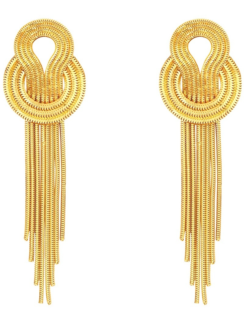 'saturn' Earrings - predominant colour: gold; occasions: evening, occasion; style: drop; length: long; size: large/oversized; material: chain/metal; fastening: pierced; finish: metallic; season: s/s 2014