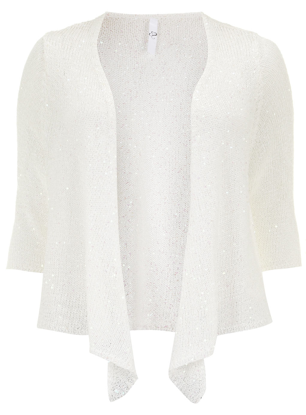 White Sequin Shrug - pattern: plain; length: cropped; neckline: collarless open; style: open front; predominant colour: white; occasions: casual, evening, creative work; fibres: polyester/polyamide - mix; fit: standard fit; sleeve length: 3/4 length; sleeve style: standard; texture group: knits/crochet; pattern type: knitted - other; embellishment: sequins; season: s/s 2014; wardrobe: highlight; embellishment location: all over
