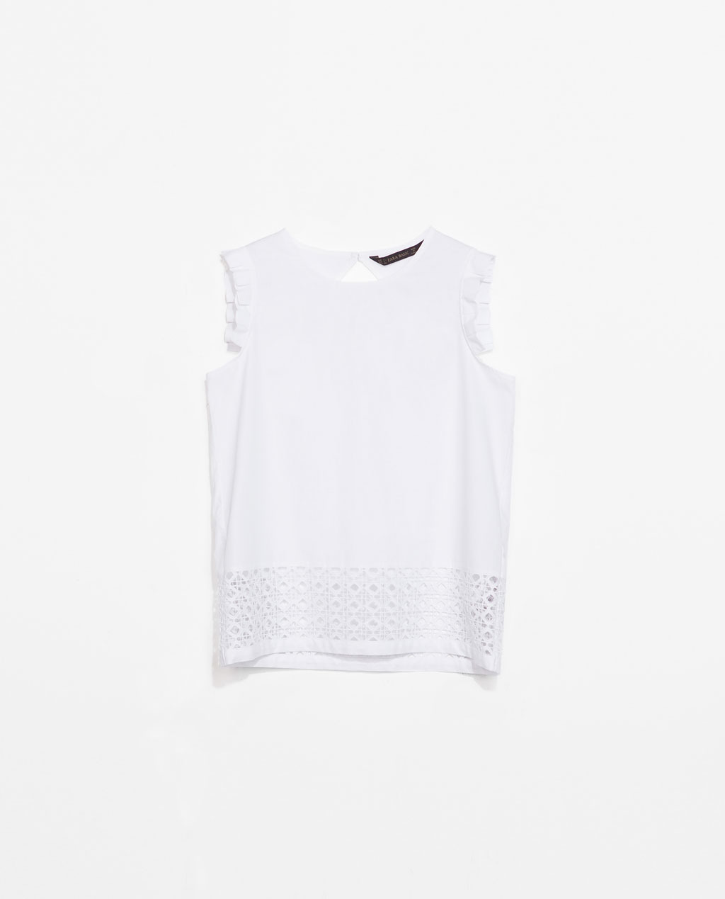 Combination Top - pattern: plain; sleeve style: sleeveless; predominant colour: white; occasions: casual, work, creative work; length: standard; style: top; fibres: cotton - 100%; fit: straight cut; neckline: crew; sleeve length: sleeveless; texture group: cotton feel fabrics; season: s/s 2014