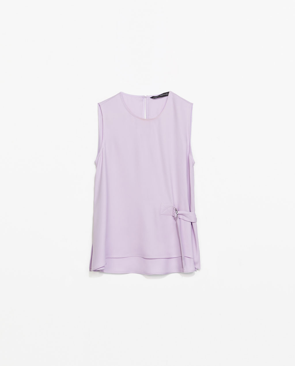 Top With Side Zip - pattern: plain; sleeve style: sleeveless; predominant colour: lilac; occasions: casual, evening, work, holiday, creative work; length: standard; style: top; fibres: viscose/rayon - 100%; fit: straight cut; neckline: crew; back detail: keyhole/peephole detail at back; sleeve length: sleeveless; texture group: crepes; pattern type: fabric; trends: sorbet shades; season: s/s 2014