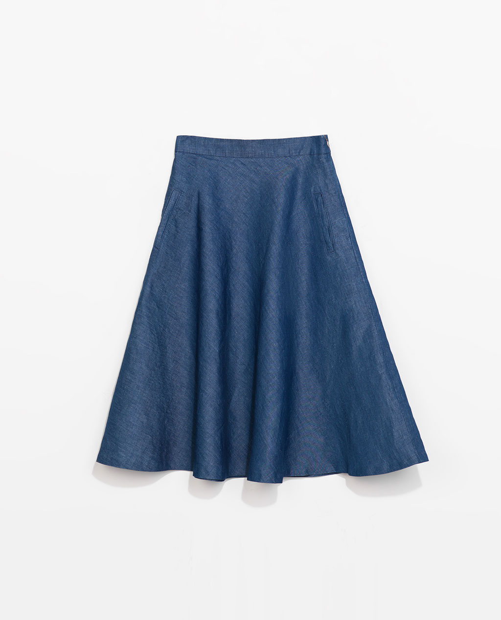 Denim Midi Skirt - pattern: plain; style: full/prom skirt; fit: loose/voluminous; waist: high rise; predominant colour: denim; occasions: casual, work, creative work; length: on the knee; fibres: cotton - mix; hip detail: soft pleats at hip/draping at hip/flared at hip; texture group: denim; pattern type: fabric; season: s/s 2014