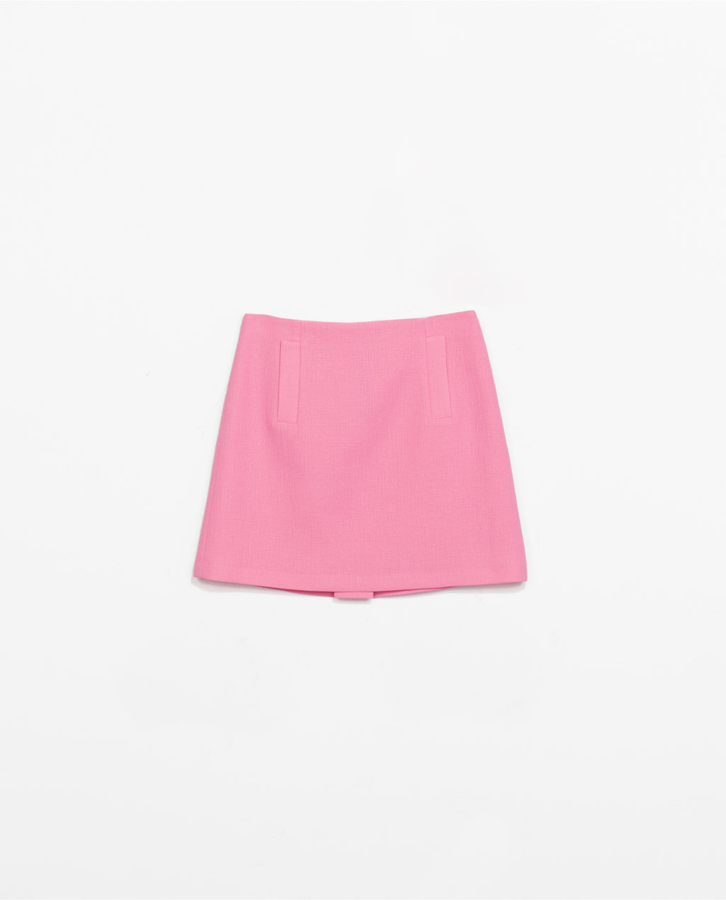 Mini Skirt - length: mini; pattern: plain; fit: tailored/fitted; hip detail: front pockets at hip; waist: high rise; predominant colour: pink; occasions: casual, evening, occasion, creative work; style: a-line; fibres: polyester/polyamide - 100%; texture group: crepes; pattern type: fabric; trends: sorbet shades; season: s/s 2014