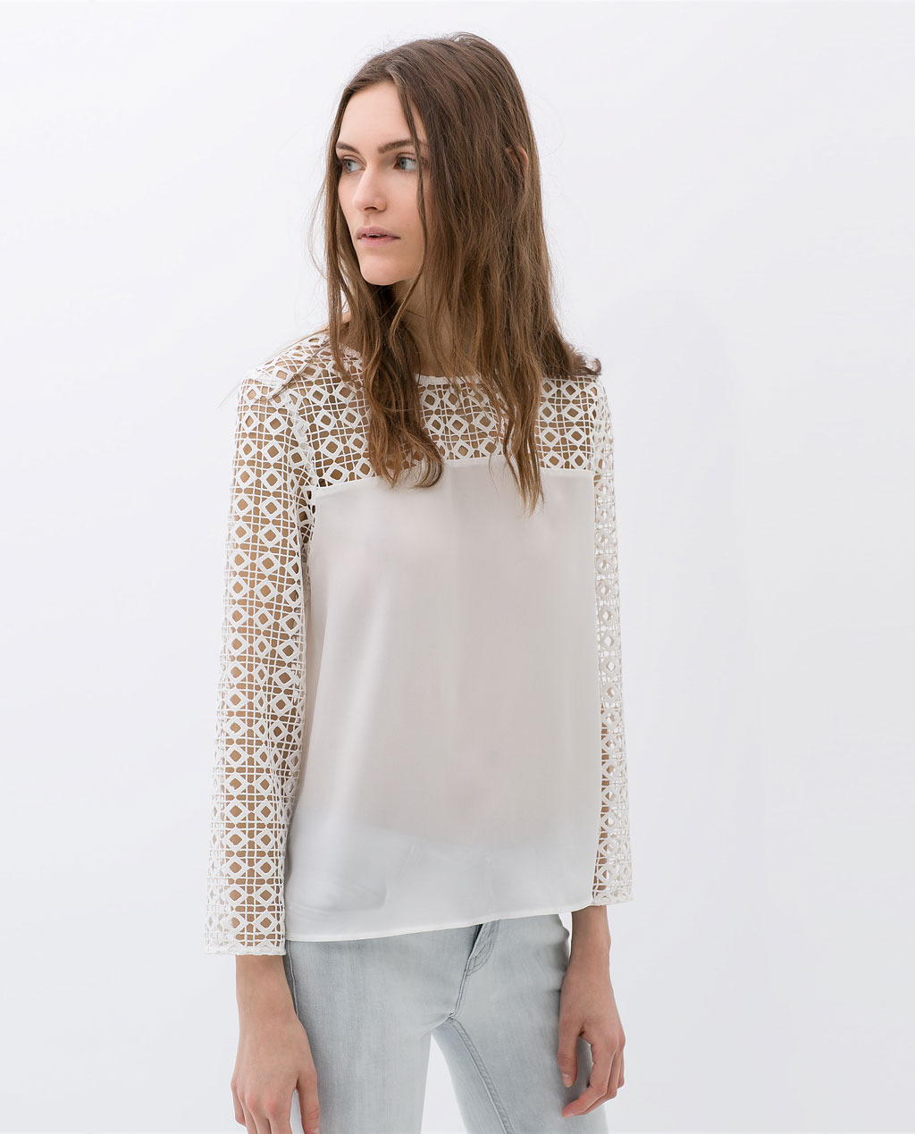 Combined Guipure Lace Shirt - neckline: slash/boat neckline; pattern: plain; shoulder detail: contrast pattern/fabric at shoulder; predominant colour: white; occasions: casual, evening, work, creative work; length: standard; style: top; fibres: polyester/polyamide - 100%; fit: straight cut; sleeve length: long sleeve; sleeve style: standard; texture group: sheer fabrics/chiffon/organza etc.; pattern type: fabric; embellishment: lace; trends: lace; season: s/s 2014