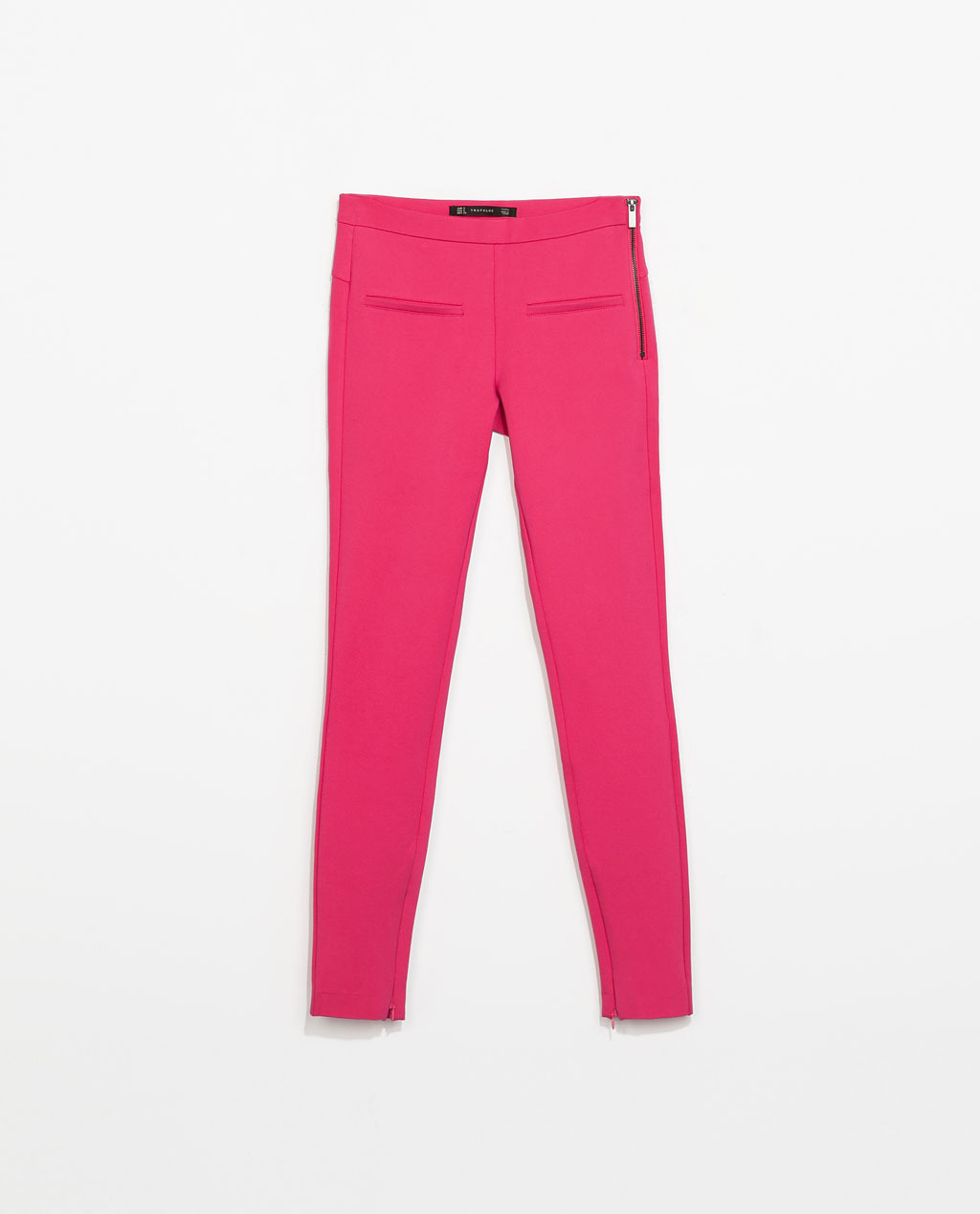 Trousers With Side Zip - pattern: plain; style: leggings; hip detail: front pockets at hip; waist: mid/regular rise; predominant colour: hot pink; occasions: casual, creative work; length: ankle length; fibres: viscose/rayon - stretch; fit: skinny/tight leg; texture group: jersey - stretchy/drapey; trends: hot brights; season: s/s 2014