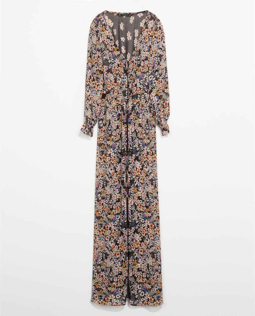 Printed Long Sleeve Maxi Dress - neckline: low v-neck; style: maxi dress; sleeve style: balloon; occasions: casual, evening, holiday; length: floor length; fit: body skimming; fibres: polyester/polyamide - 100%; predominant colour: multicoloured; sleeve length: long sleeve; texture group: sheer fabrics/chiffon/organza etc.; pattern size: big & busy; pattern: florals; season: s/s 2014; multicoloured: multicoloured