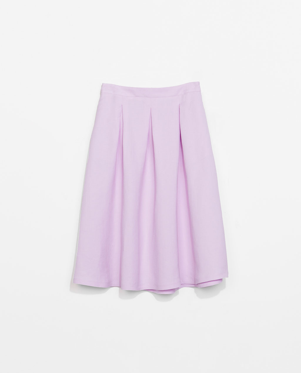 Maxi Volume Skirt - pattern: plain; fit: loose/voluminous; style: pleated; waist: high rise; predominant colour: lilac; occasions: casual, evening, occasion, creative work; length: on the knee; fibres: linen - mix; hip detail: structured pleats at hip; pattern type: fabric; texture group: woven light midweight; trends: sorbet shades; season: s/s 2014