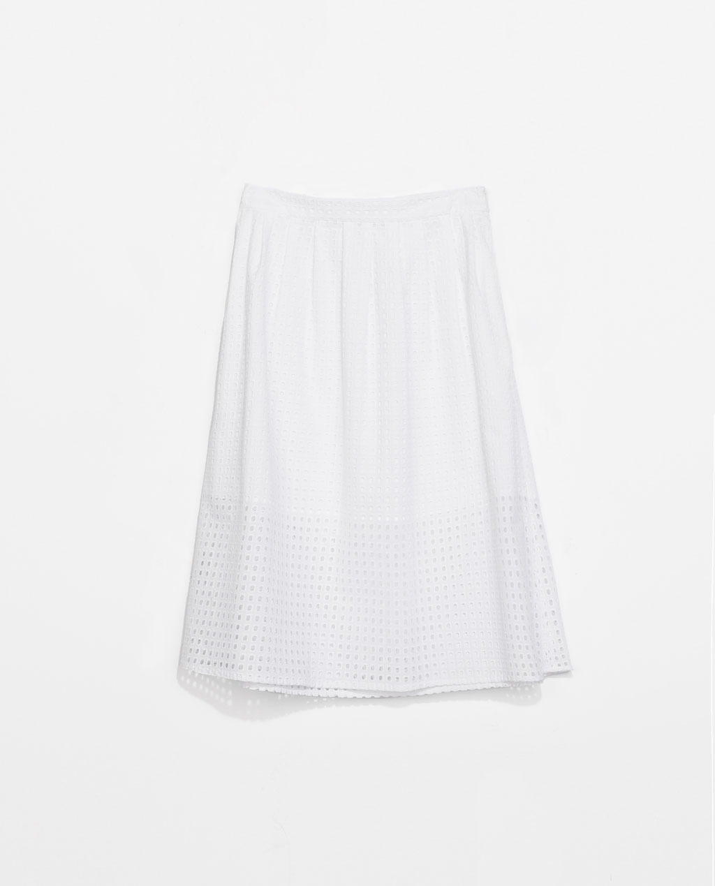 Laser Cut Skirt - length: below the knee; pattern: plain; fit: loose/voluminous; waist: high rise; predominant colour: white; occasions: casual, holiday, creative work; style: a-line; fibres: cotton - 100%; hip detail: adds bulk at the hips; pattern type: fabric; texture group: broiderie anglais; season: s/s 2014