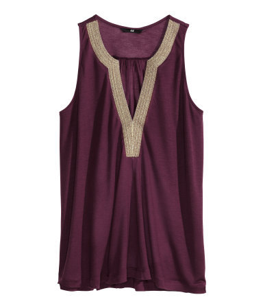 Lyocell Top - neckline: low v-neck; pattern: plain; sleeve style: sleeveless; bust detail: added detail/embellishment at bust; predominant colour: purple; secondary colour: gold; occasions: evening, occasion, creative work; length: standard; style: top; fibres: viscose/rayon - 100%; fit: loose; sleeve length: sleeveless; pattern type: fabric; pattern size: standard; texture group: jersey - stretchy/drapey; season: s/s 2014