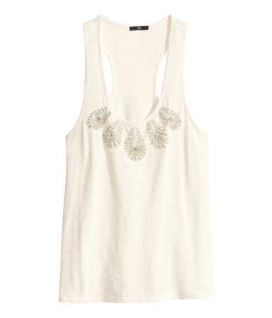 Top With Beaded Embroidery - sleeve style: standard vest straps/shoulder straps; pattern: plain; bust detail: added detail/embellishment at bust; style: vest top; back detail: racer back/sports back; predominant colour: ivory/cream; occasions: casual, evening, holiday; length: standard; neckline: scoop; fibres: cotton - 100%; fit: body skimming; sleeve length: sleeveless; pattern type: fabric; texture group: jersey - stretchy/drapey; embellishment: beading; season: s/s 2014
