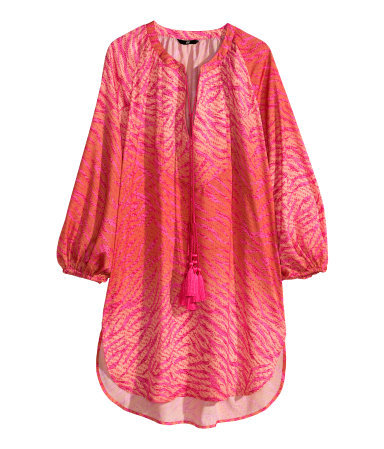Satin Tunic - neckline: v-neck; length: below the bottom; sleeve style: balloon; style: kaftan; secondary colour: hot pink; predominant colour: coral; fibres: polyester/polyamide - 100%; fit: loose; sleeve length: 3/4 length; texture group: silky - light; occasions: holiday; pattern type: fabric; pattern size: light/subtle; pattern: animal print; season: s/s 2014