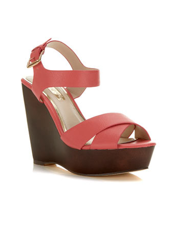 Margate Strappy Wedge - predominant colour: coral; occasions: casual, holiday, creative work; material: faux leather; ankle detail: ankle strap; heel: wedge; toe: open toe/peeptoe; style: standard; finish: plain; pattern: plain; heel height: very high; shoe detail: platform; trends: sorbet shades; season: s/s 2014