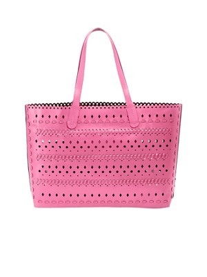 Leather Tote, Pink - predominant colour: hot pink; occasions: casual, holiday, creative work; type of pattern: standard; style: tote; length: handle; size: oversized; material: leather; pattern: plain; finish: plain; trends: hot brights; season: s/s 2014