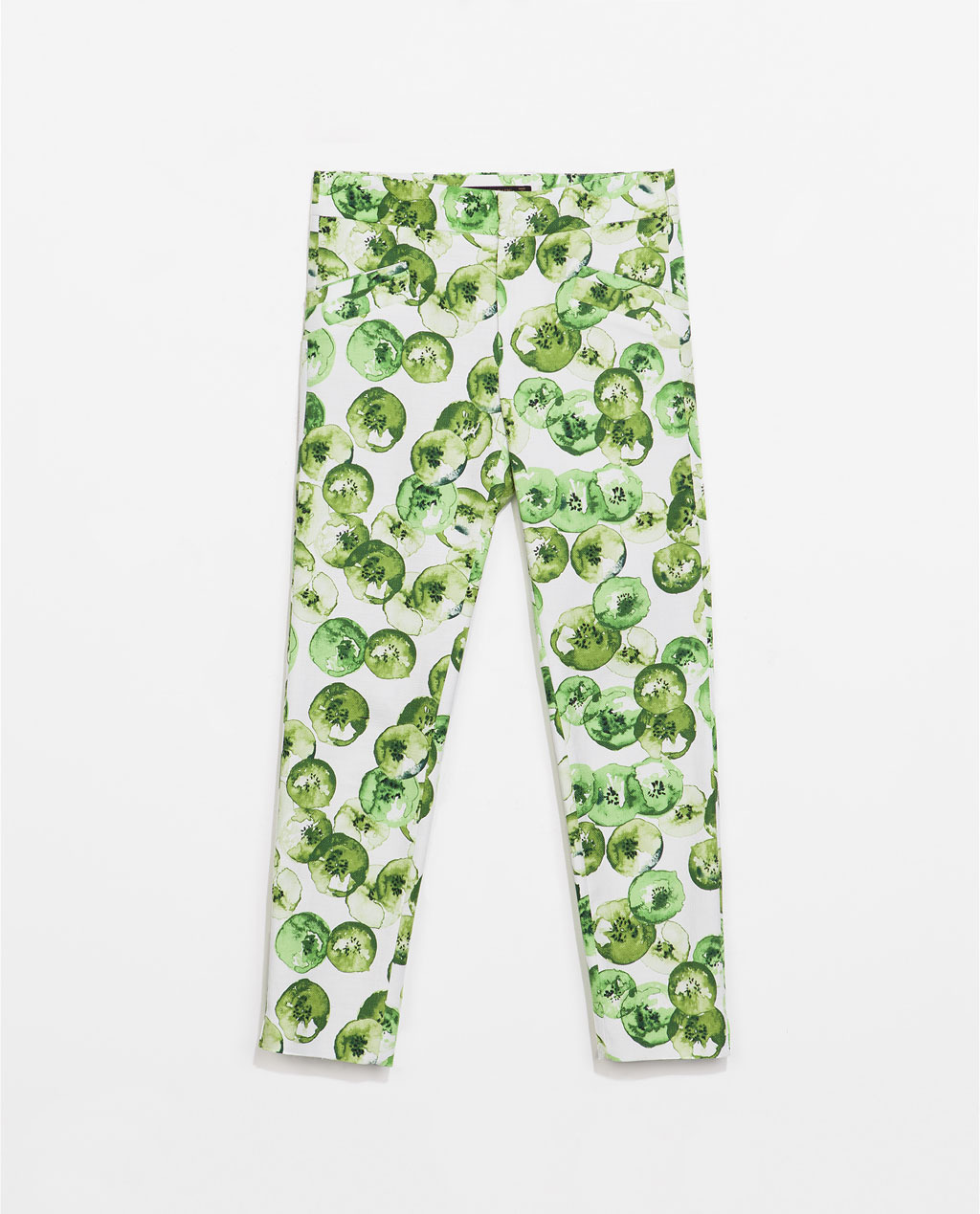 Fruit Print Trousers - waist: mid/regular rise; secondary colour: ivory/cream; predominant colour: emerald green; occasions: casual, holiday, creative work; length: ankle length; fibres: cotton - stretch; fit: slim leg; pattern type: fabric; pattern: patterned/print; texture group: woven light midweight; style: standard; season: s/s 2014; pattern size: standard (bottom)