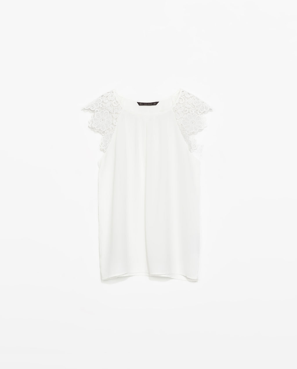 Top With Guipure Sleeve - neckline: round neck; sleeve style: capped; pattern: plain; bust detail: subtle bust detail; predominant colour: white; occasions: casual, evening, creative work; length: standard; style: top; fibres: polyester/polyamide - 100%; fit: straight cut; sleeve length: short sleeve; texture group: sheer fabrics/chiffon/organza etc.; pattern type: fabric; embellishment: lace; season: s/s 2014; wardrobe: highlight