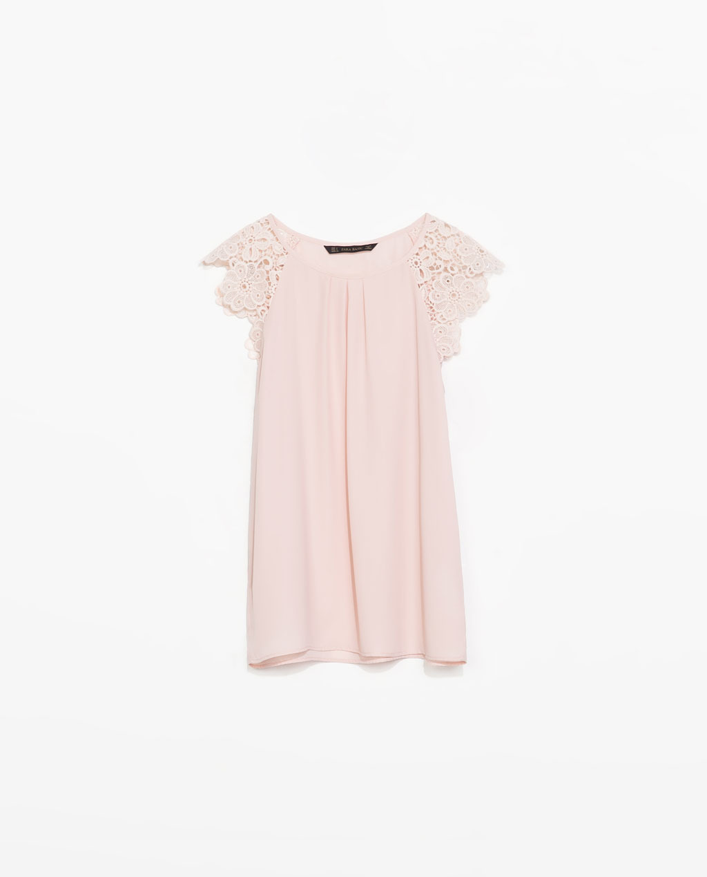 Top With Guipure Sleeve - neckline: round neck; sleeve style: capped; pattern: plain; bust detail: subtle bust detail; predominant colour: blush; occasions: casual, creative work; length: standard; style: top; fibres: polyester/polyamide - 100%; fit: straight cut; sleeve length: short sleeve; texture group: crepes; pattern type: fabric; embellishment: lace; season: s/s 2014; wardrobe: highlight