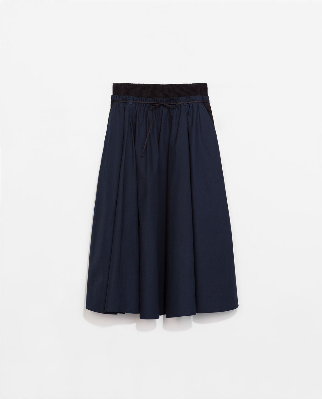 Poplin Skirt With Elastic Waistband - length: below the knee; pattern: plain; style: full/prom skirt; fit: loose/voluminous; waist detail: elasticated waist; waist: high rise; predominant colour: navy; occasions: casual, evening, holiday, creative work; fibres: cotton - 100%; hip detail: subtle/flattering hip detail; texture group: cotton feel fabrics; pattern type: fabric; season: s/s 2014; wardrobe: basic