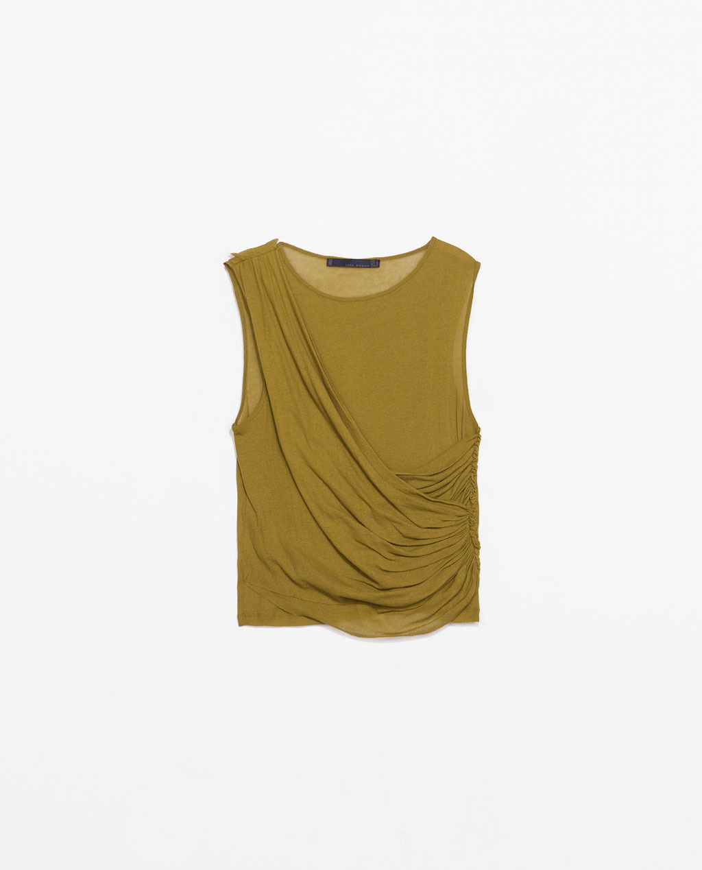 Draped Studio T Shirt - neckline: round neck; pattern: plain; sleeve style: sleeveless; waist detail: twist front waist detail/nipped in at waist on one side/soft pleats/draping/ruching/gathering waist detail; predominant colour: khaki; occasions: casual, evening, creative work; length: standard; style: top; fibres: cotton - 100%; fit: body skimming; shoulder detail: flat/draping pleats/ruching/gathering at shoulder; sleeve length: sleeveless; pattern type: fabric; texture group: jersey - stretchy/drapey; season: s/s 2014