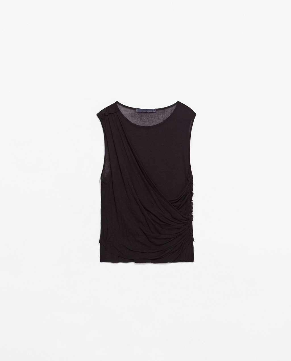 Draped Studio T Shirt - neckline: round neck; pattern: plain; sleeve style: sleeveless; waist detail: flattering waist detail; predominant colour: black; occasions: casual, evening, creative work; length: standard; style: top; fibres: cotton - 100%; fit: body skimming; sleeve length: sleeveless; pattern type: fabric; texture group: jersey - stretchy/drapey; season: s/s 2014